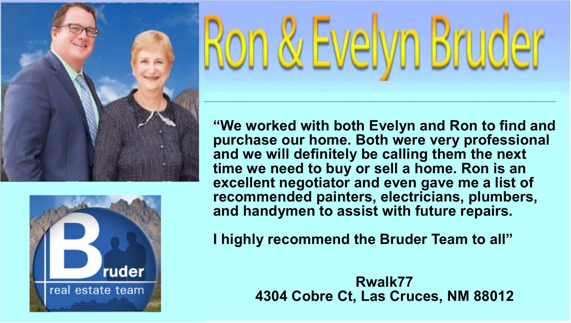 evelyn & Ron were very professional - 5 star testimonial